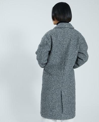 Manteau long maille bouclette gris chiné - Pimkie