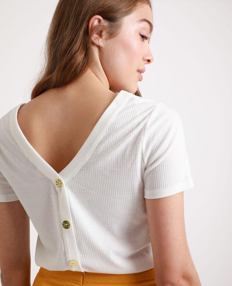 T-shirt boutonné blanc cassé
