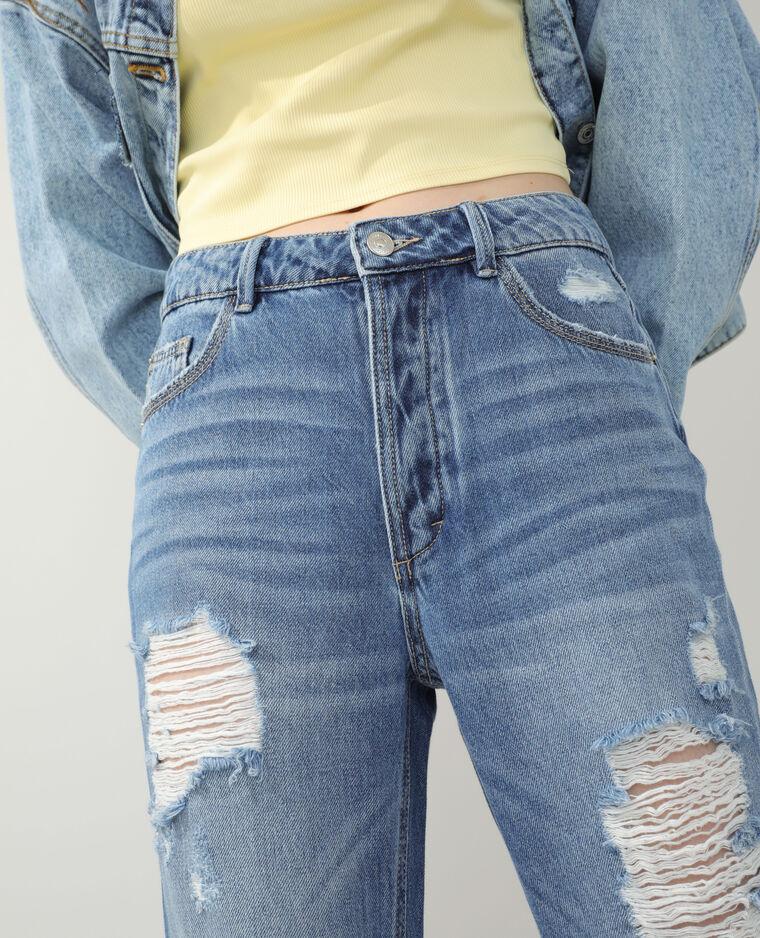 Jean straight high waist destroy bleu denim - Pimkie