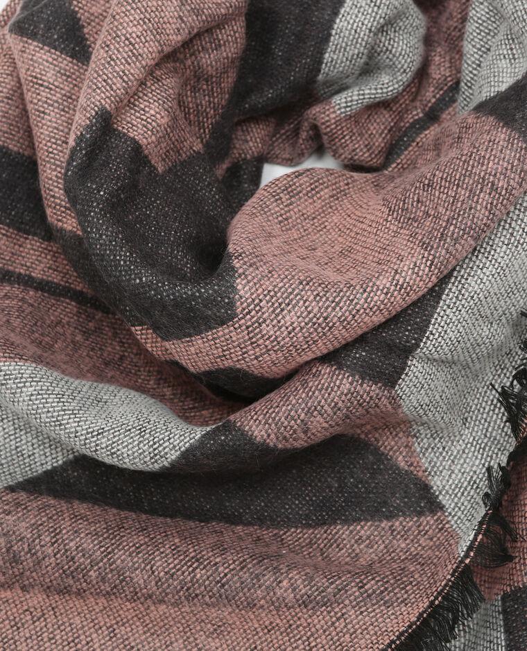 Echarpe plaid motifs géométriques rose