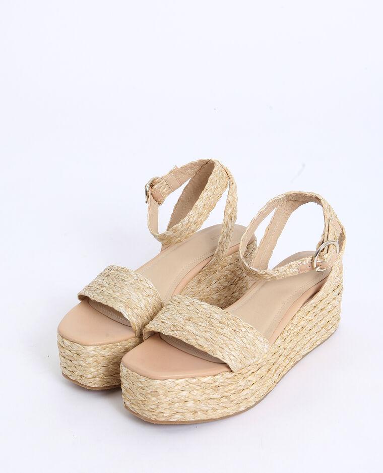 Sandales à plateforme beige ficelle