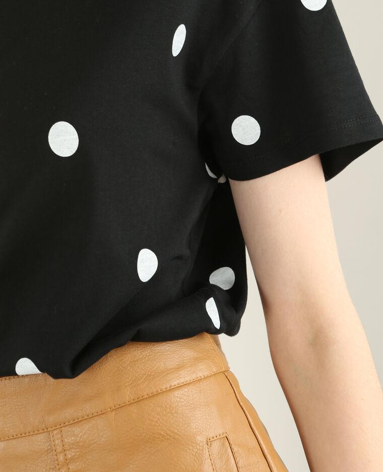 T-shirt à pois noir