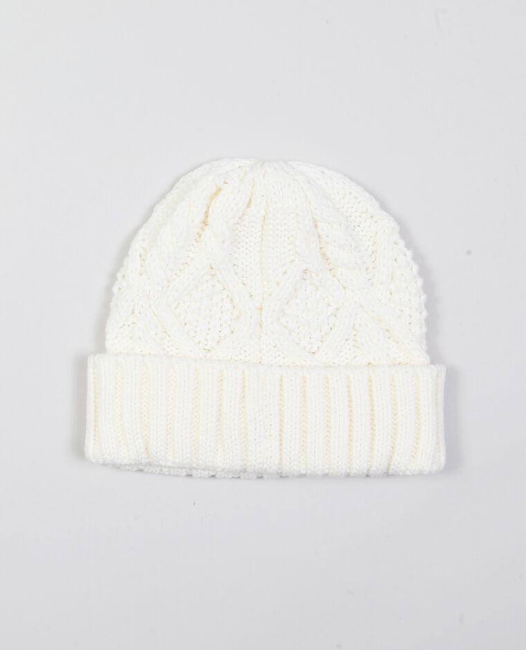 Bonnet à torsades blanc cassé
