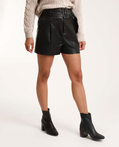 Short en faux cuir noir - Pimkie