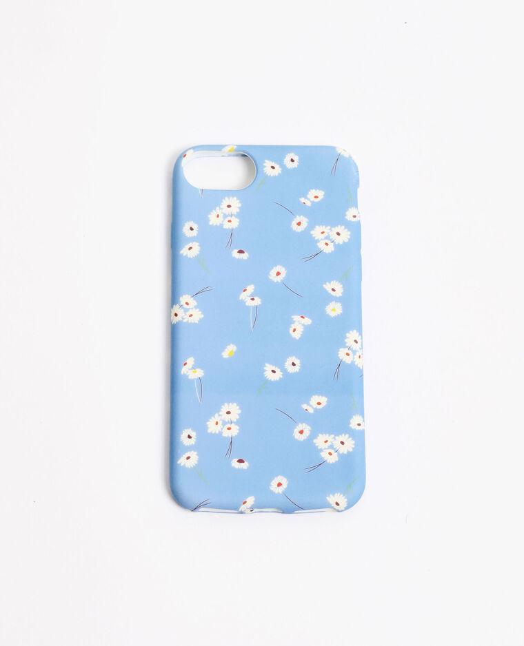 Coque iPhone fleurs blanches bleu