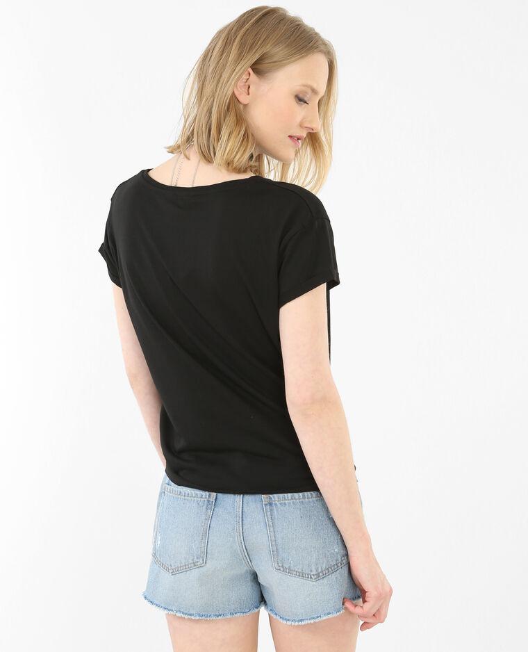 T-shirt à nouer à patchs noir