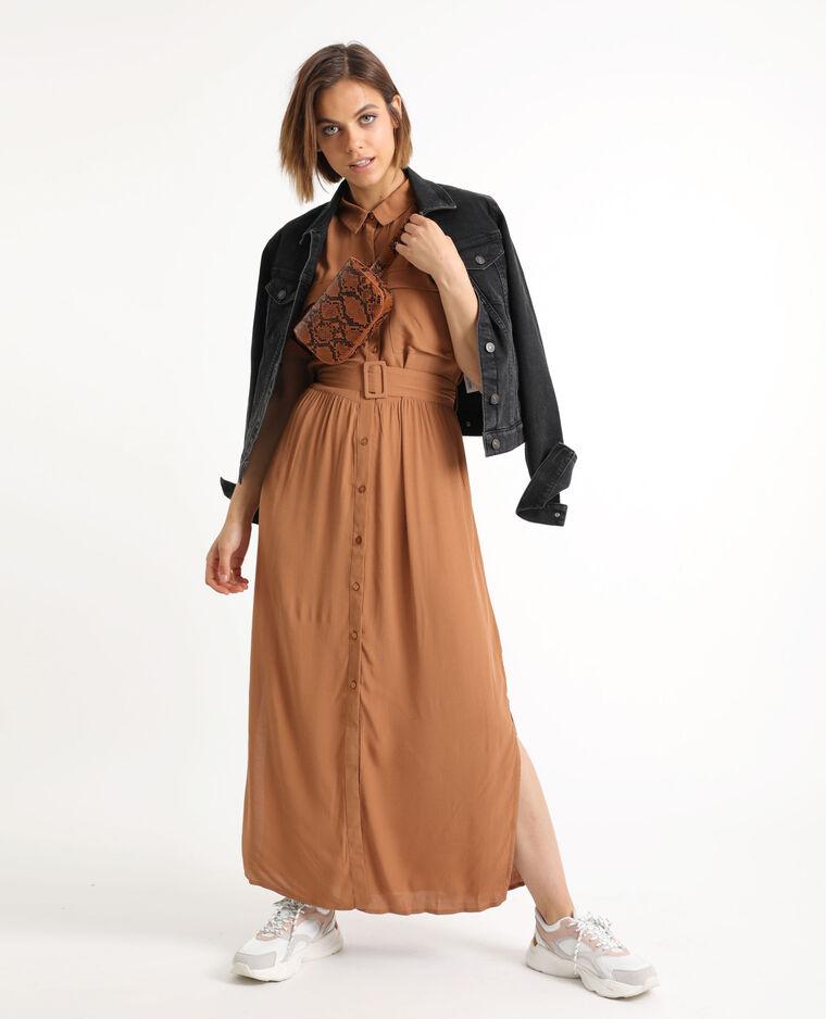 Robe longues à manches courtes caramel