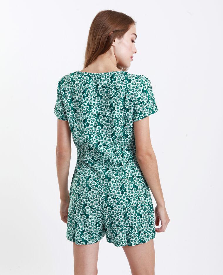 Combishort à fleurs vert