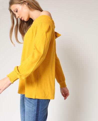 Blouse smockée jaune