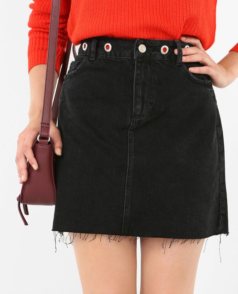 Jupe en jean à œillets noir