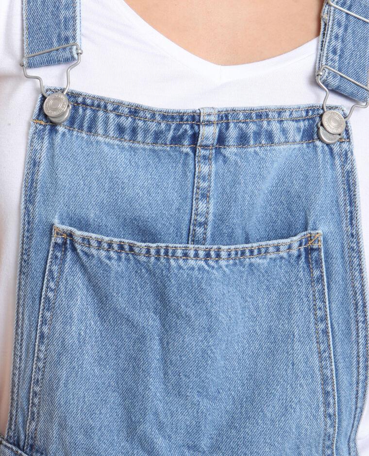 Salopette courte en jean bleu délavé