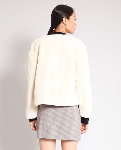 Manteau court en fausse fourrure blanc cassé