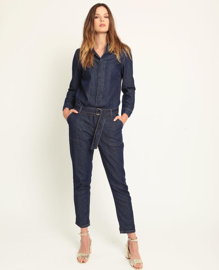Combinaison en jean bleu foncé