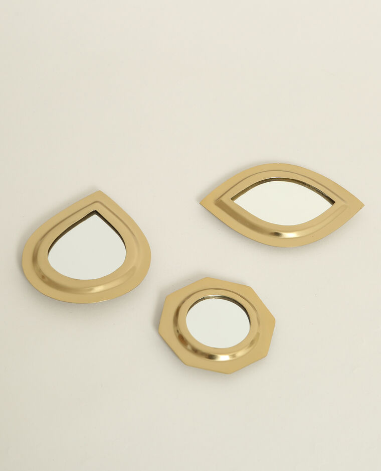 Lot de 3 petits miroirs doré