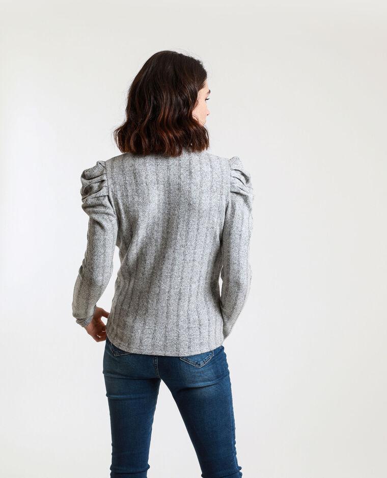 T-shirt à manches bouffantes gris chiné - Pimkie