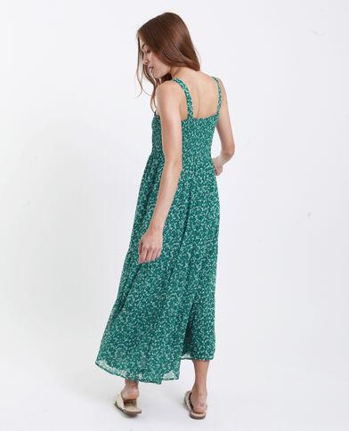 Robe longue fleurie vert