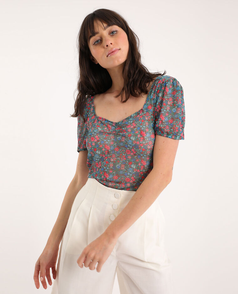 T-shirt fleuri vert - Pimkie