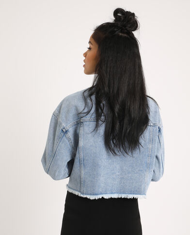 Veste en jean courte bleu délavé