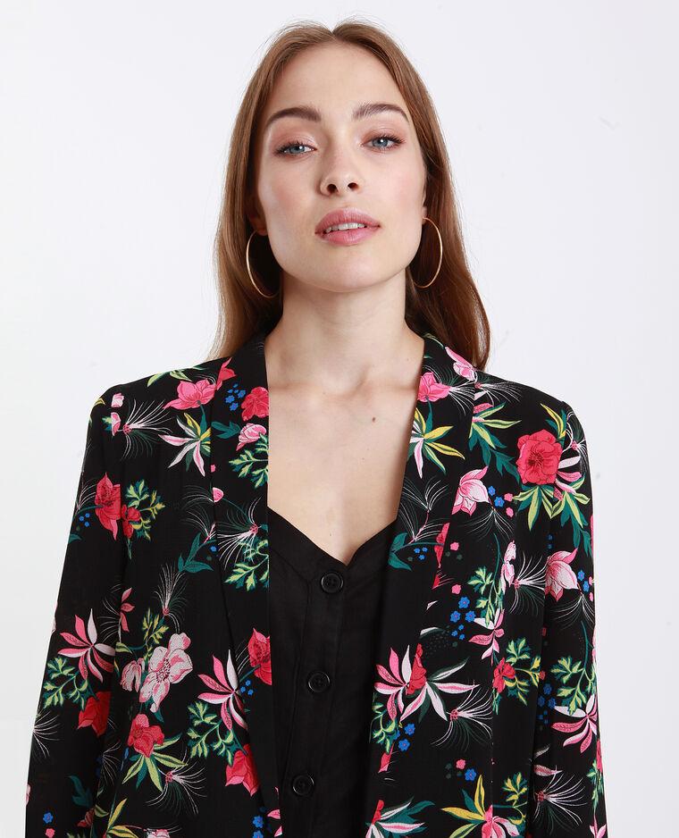 blazer fleuri noir et rouge