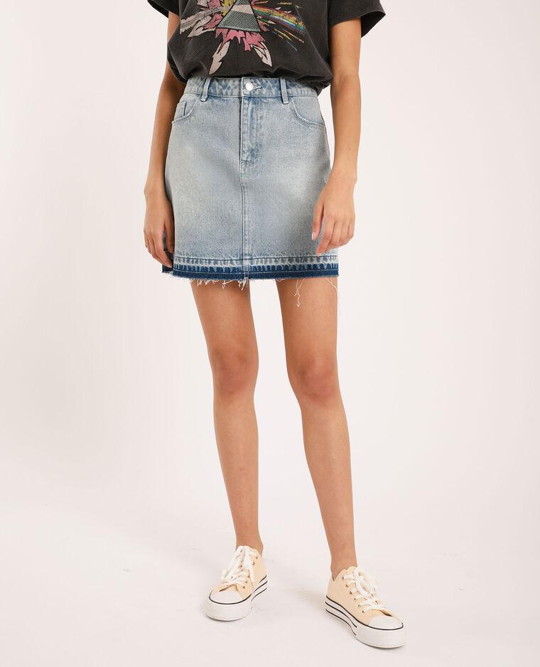 Jupe en jean clair bleu denim