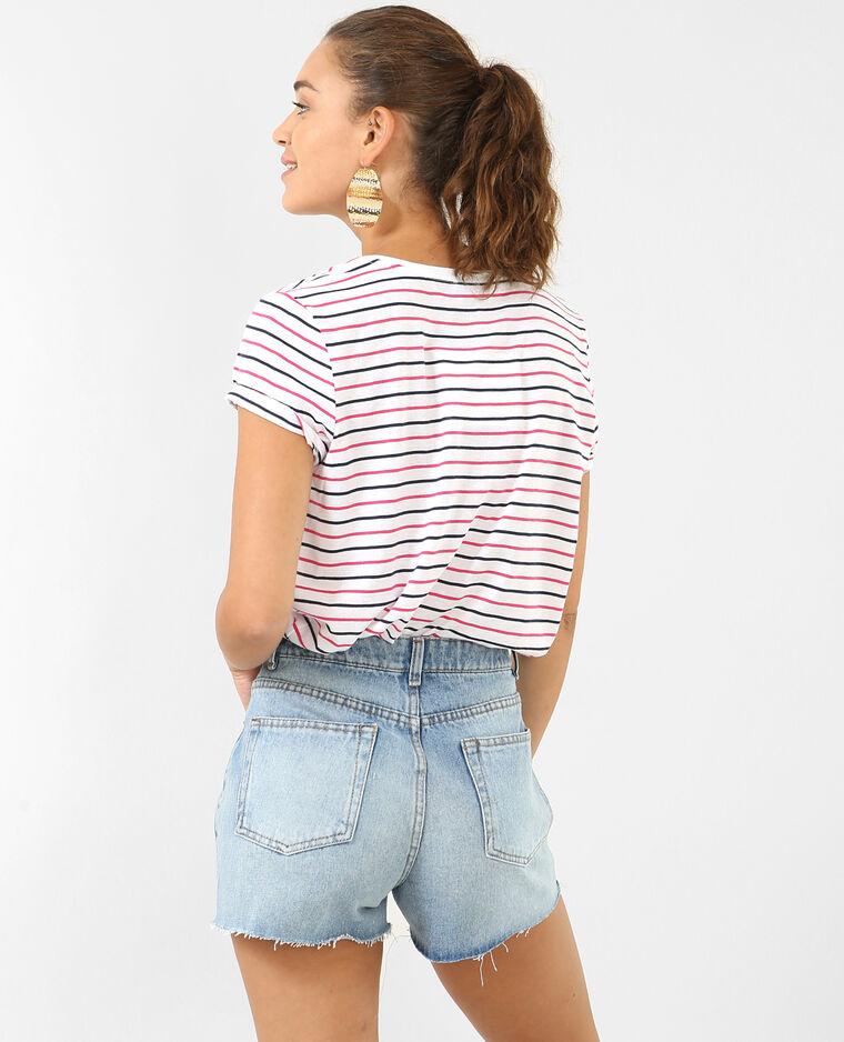 T-shirt à rayures rose