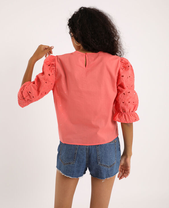 Blouse broderie anglaise rose