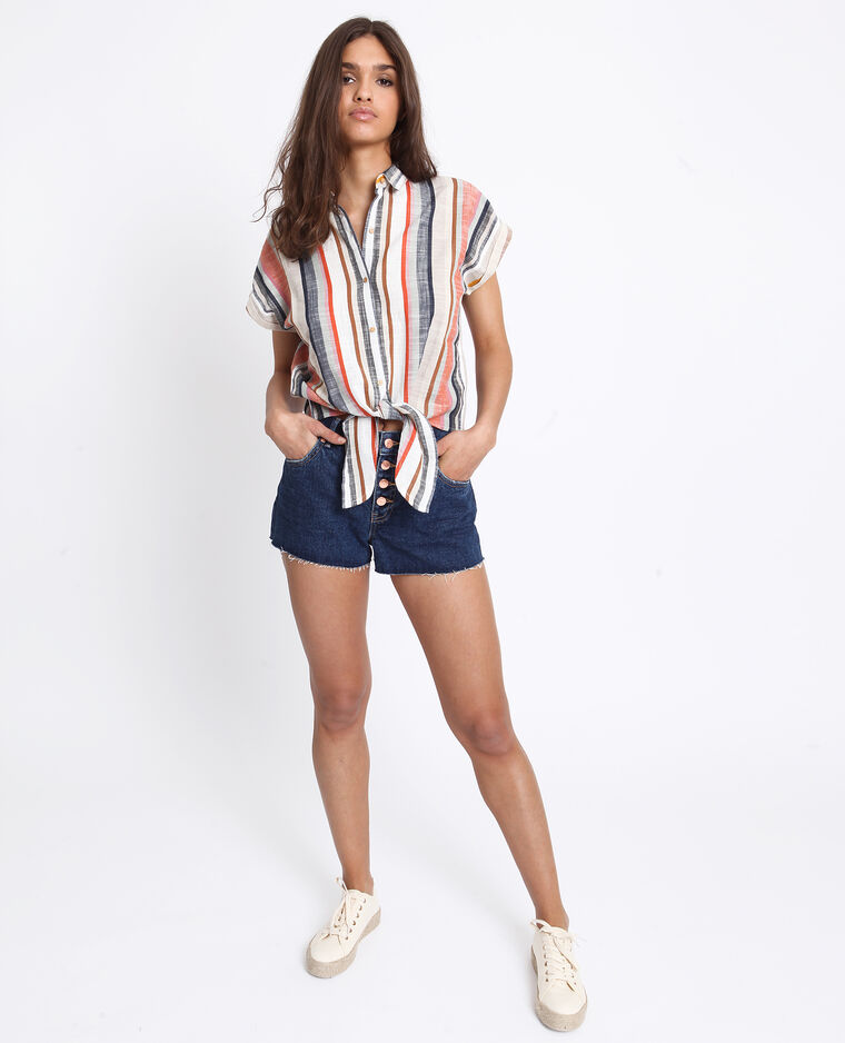 Short en jean mid waist bleu brut
