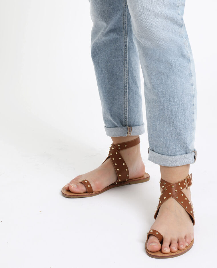 Sandales plates marron