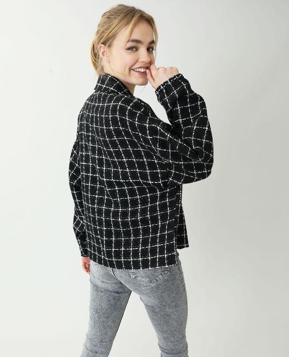Surchemise tweed à carreaux noir