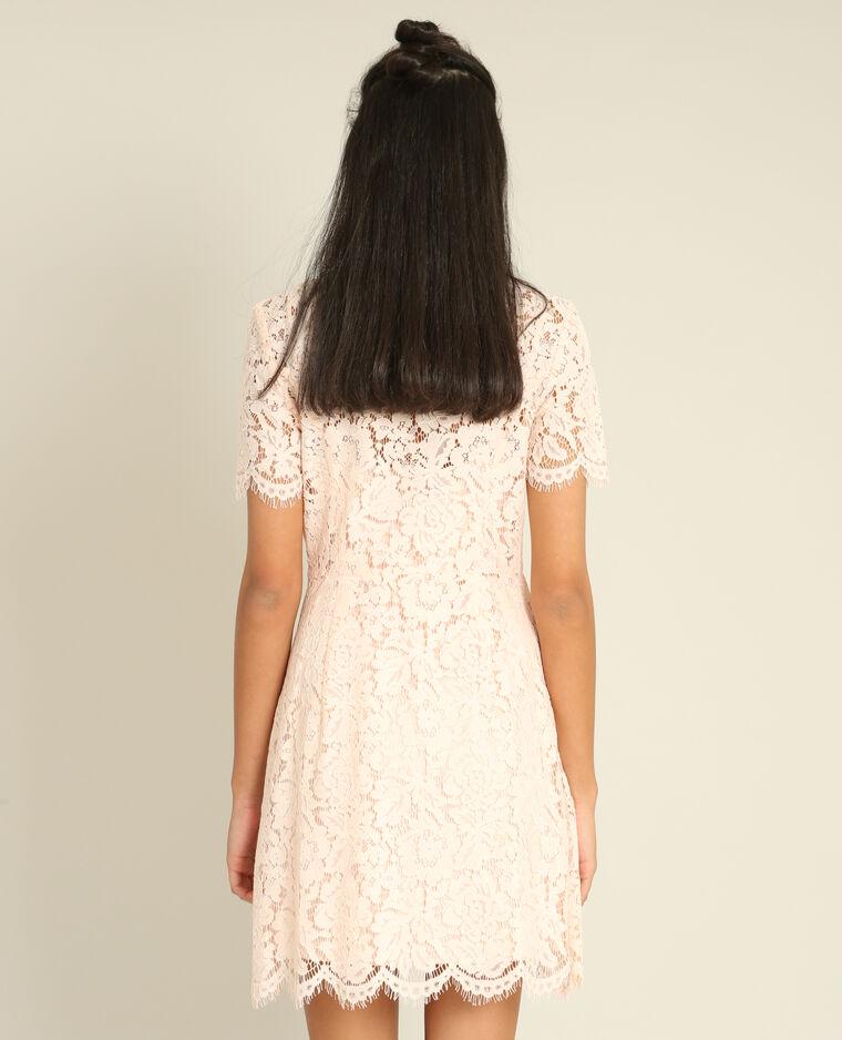 Robe dentelle rose pâle