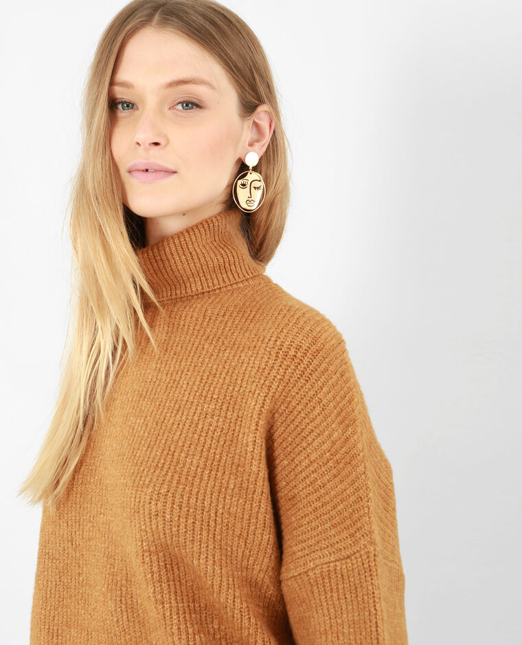 Pull chaud col roulé camel