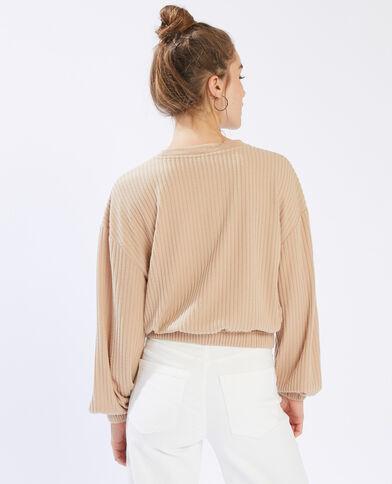 T-shirt côtelé à manches longues beige - Pimkie