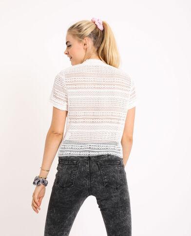 T-shirt ajouré blanc cassé - Pimkie