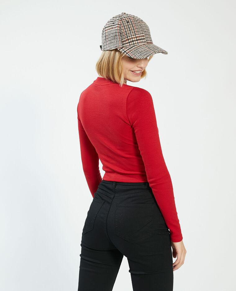 T-shirt cropped côtelé rouge - Pimkie