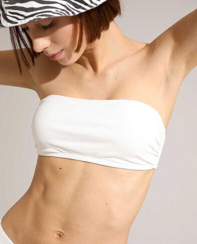 Haut de maillot bandeau côtelé blanc