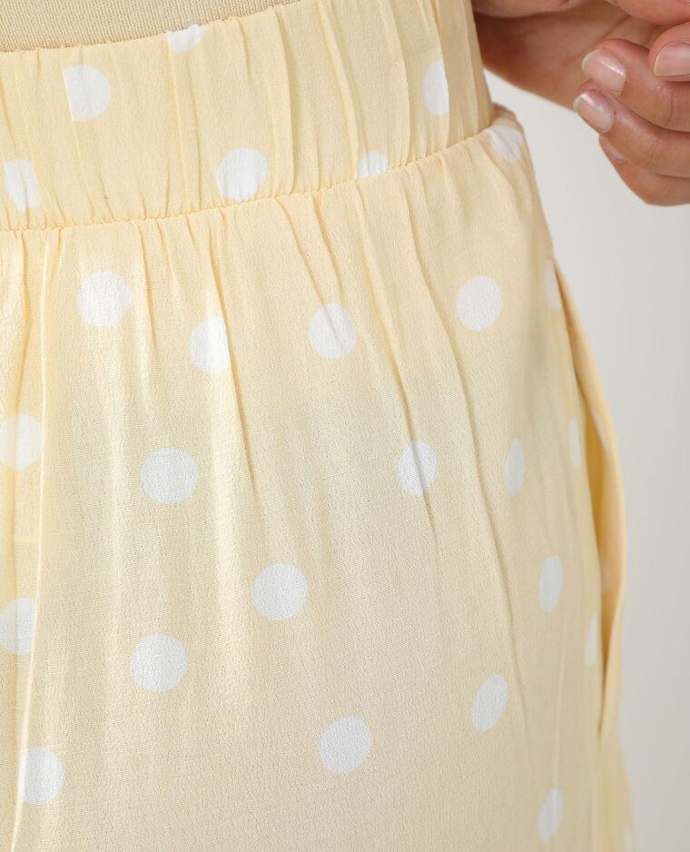 Pantalon wide leg à pois jaune - Pimkie