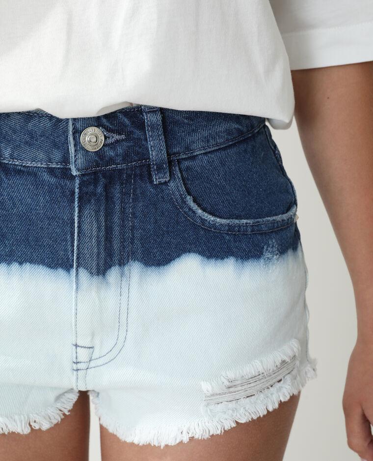 Short high waist destroy deep and dye bleu denim - Pimkie