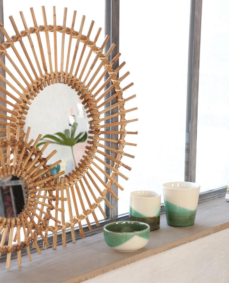 Miroir soleil rotin beige taupe