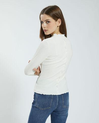 T-shirt côtelé et ondulé blanc - Pimkie