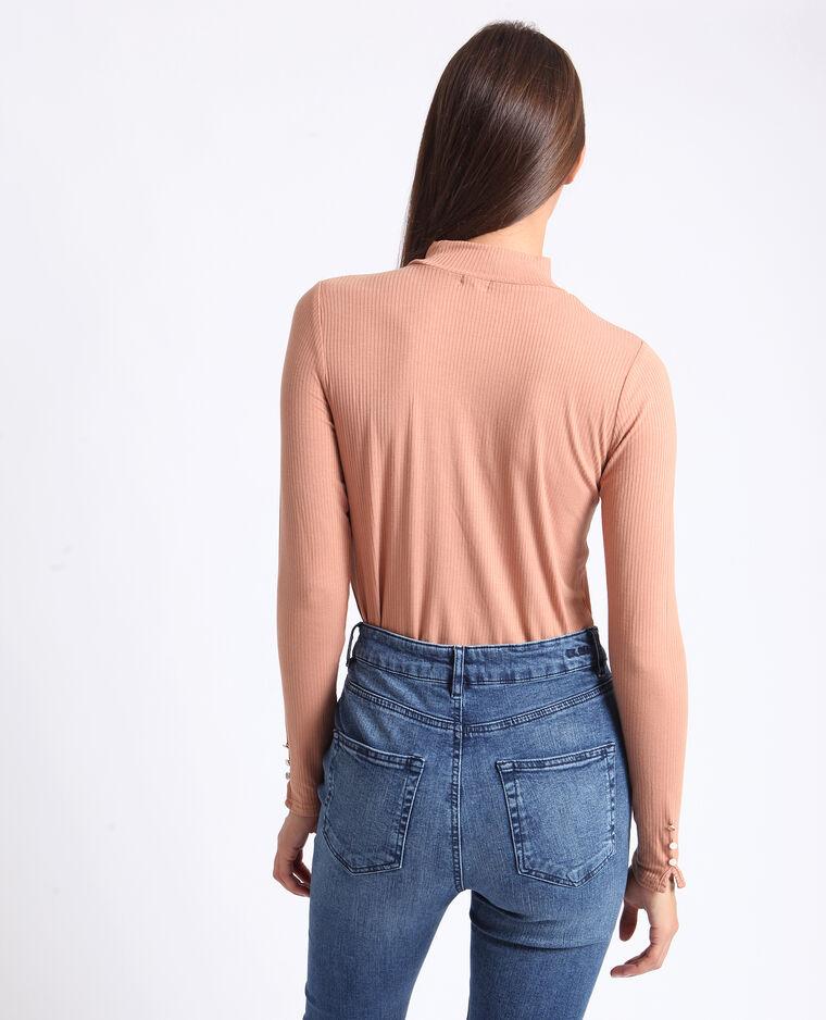 T-shirt à col montant brun