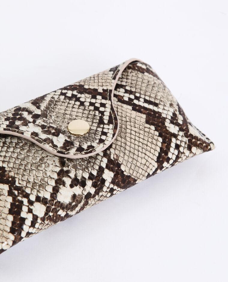 Etui à lunettes python beige ficelle