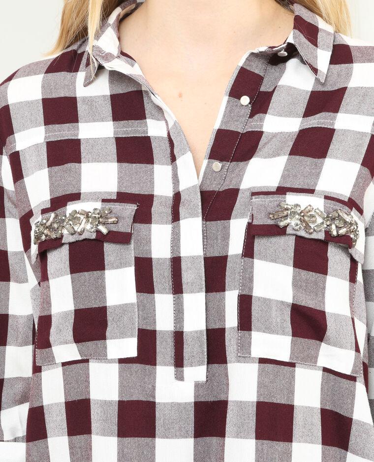 Robe chemise bijoux poche Bordeaux