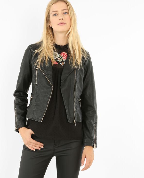 Blouson biker en simili cuir noir