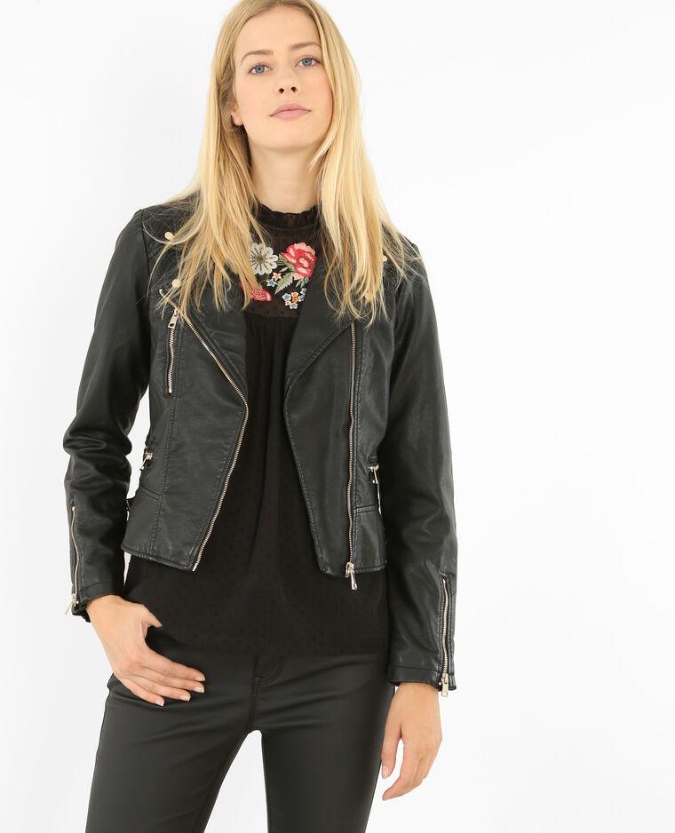 35df82e2d5991 Blouson biker en simili cuir noir - 323209899A08   Pimkie
