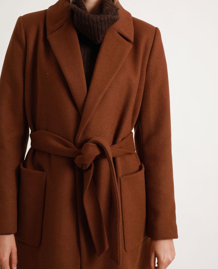 Manteau drap de laine marron