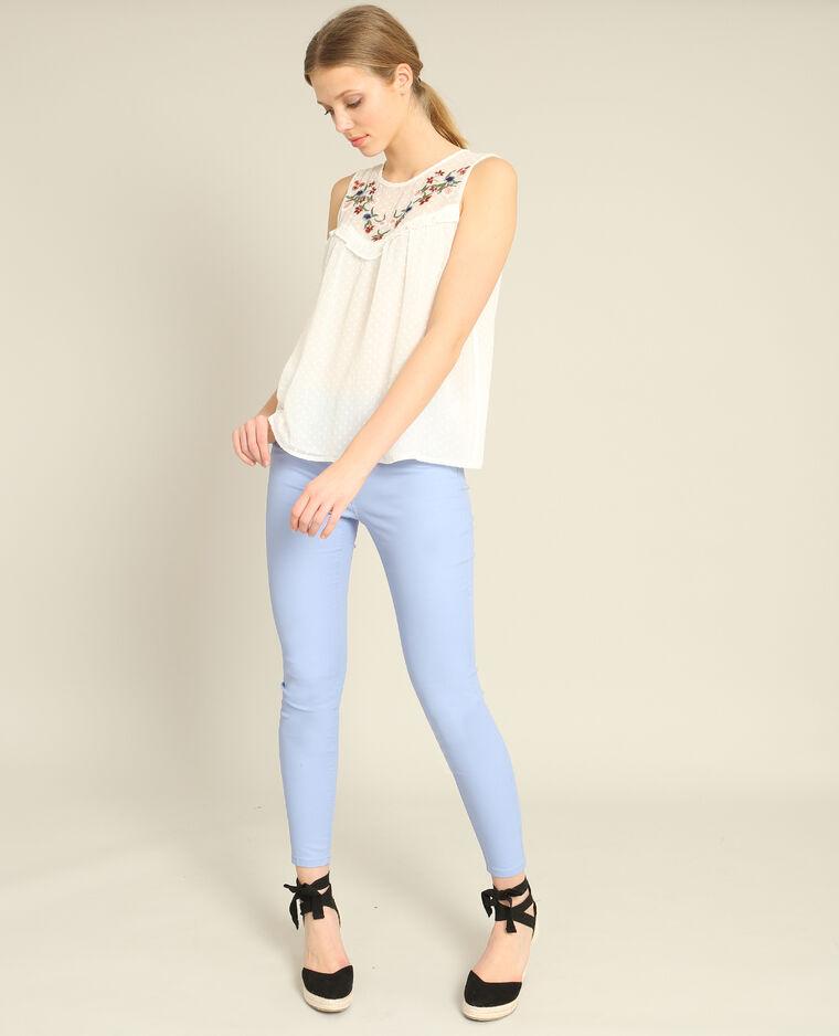 Pantalon skinny enduit bleu ciel - Pimkie