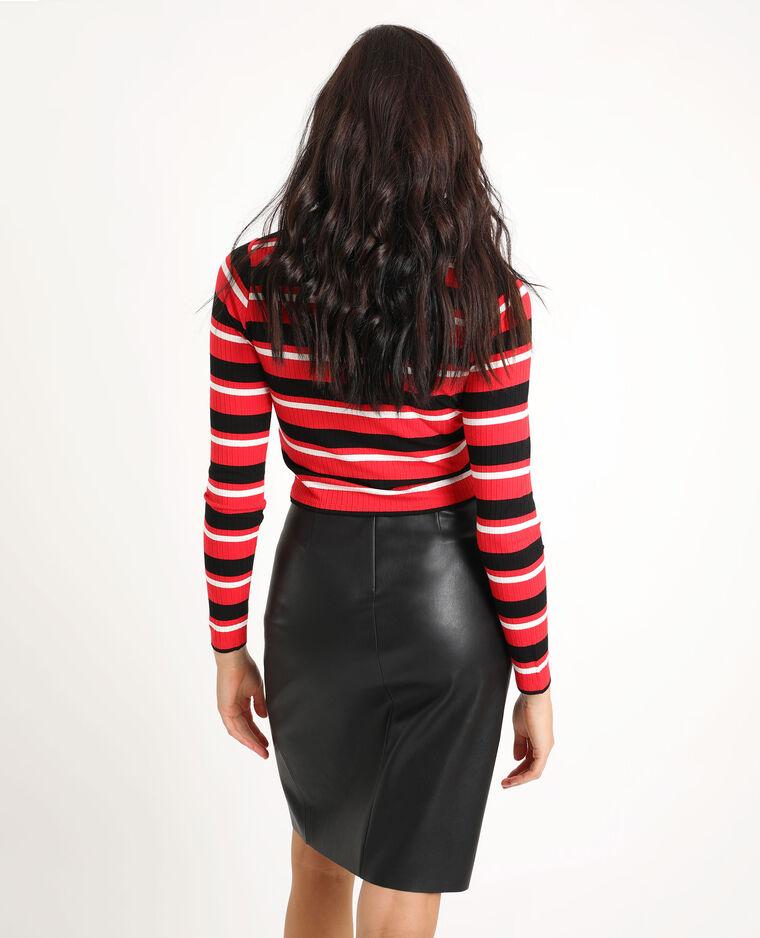 T-shirt côtelé rouge