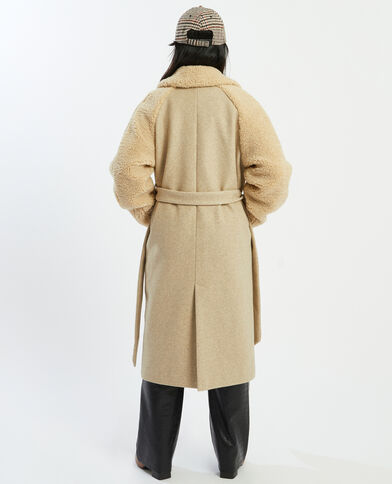 Manteau long bimatière beige - Pimkie