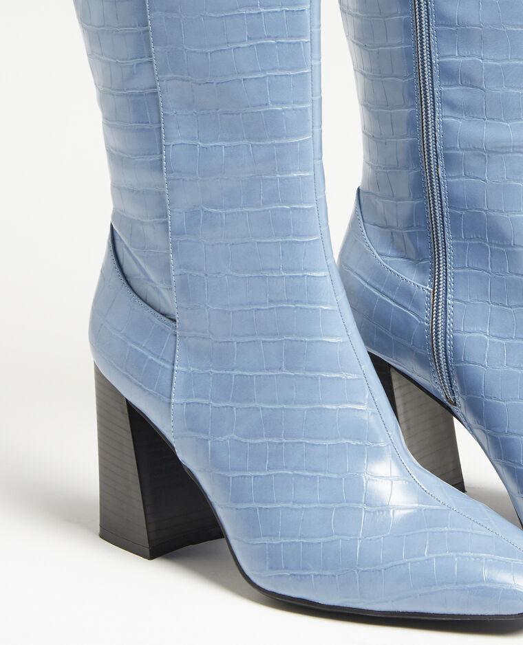 Bottes hautes croco bleu