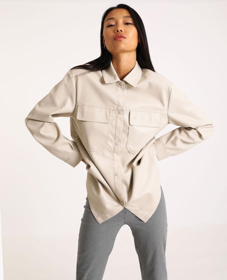 Chemise oversized en simili cuir blanc cassé